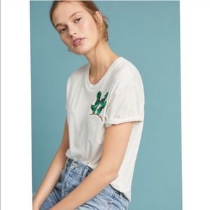 Anthropologie | Tiny Embroidered Cactus Tee